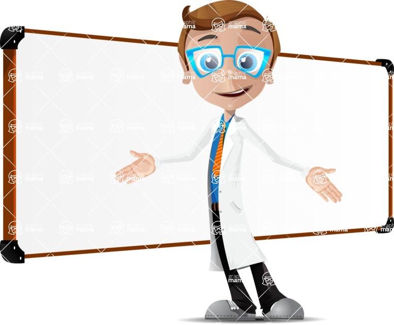Mad Scientist Guy Cartoon Vector Character AKA Doctor Dorkster - Presentation 5