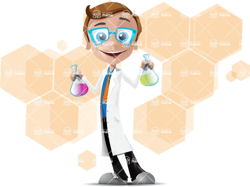 Mad Scientist Guy Cartoon Vector Character AKA Doctor Dorkster - Shape1