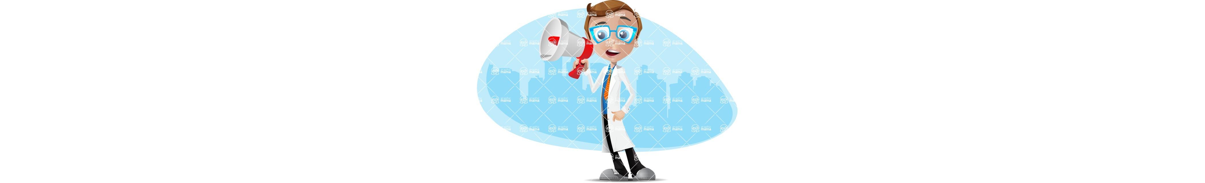 Mad Scientist Guy Cartoon Vector Character AKA Doctor Dorkster - Shape3