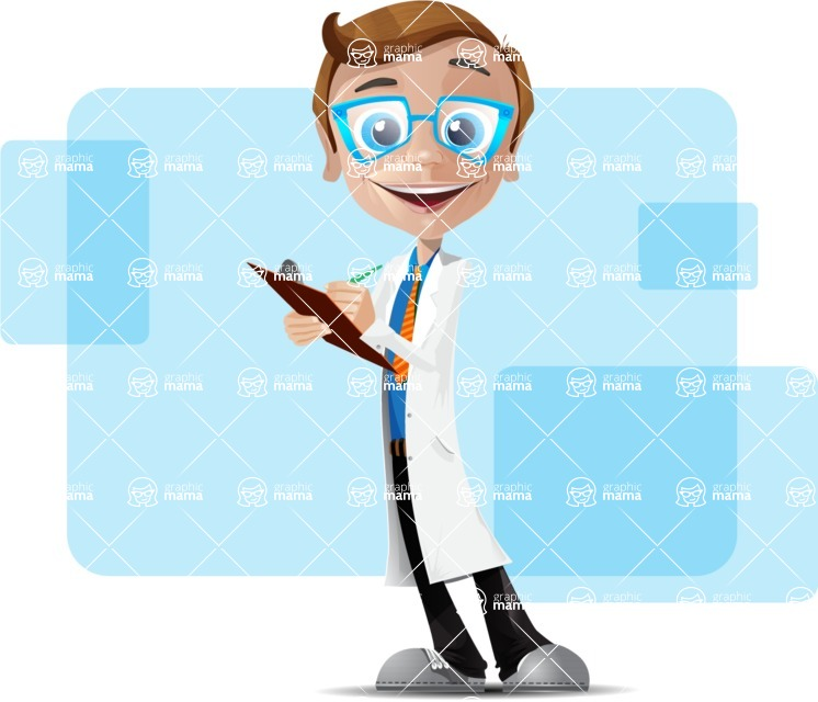 Mad Scientist Guy Cartoon Vector Character AKA Doctor Dorkster - Shape6