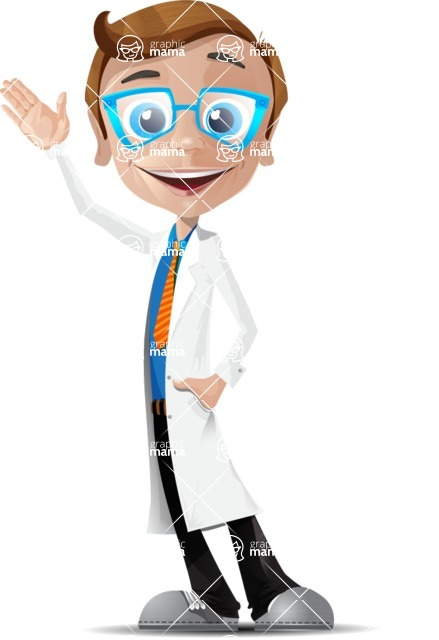 Mad Scientist Guy Cartoon Vector Character AKA Doctor Dorkster - Hello