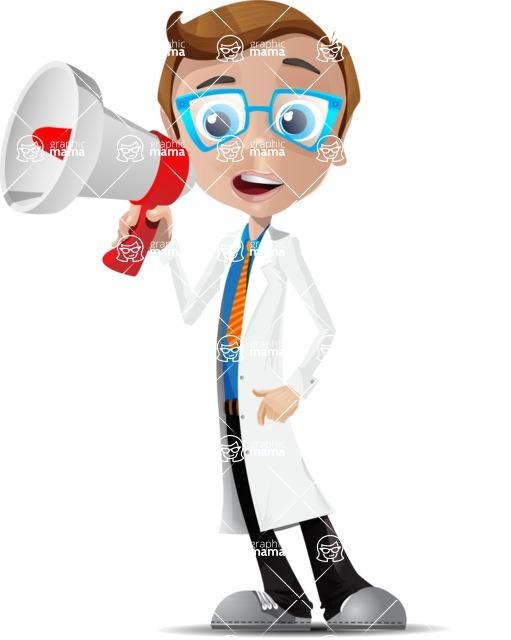 Mad Scientist Guy Cartoon Vector Character AKA Doctor Dorkster - Loudspeaker