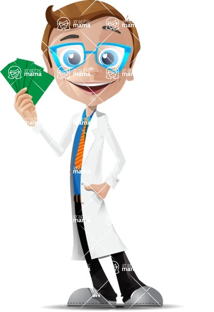 Mad Scientist Guy Cartoon Vector Character AKA Doctor Dorkster - Show me the Money