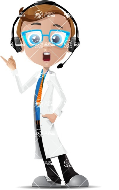 Mad Scientist Guy Cartoon Vector Character AKA Doctor Dorkster - Support 2