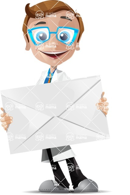 Mad Scientist Guy Cartoon Vector Character AKA Doctor Dorkster - Letter