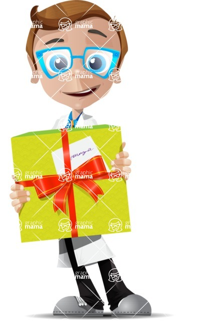 Mad Scientist Guy Cartoon Vector Character AKA Doctor Dorkster - Gift