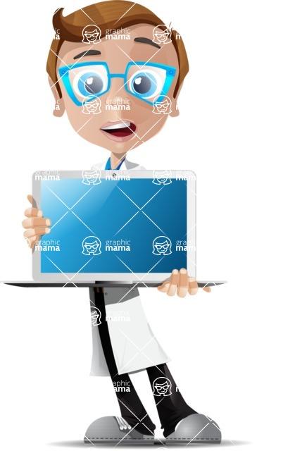 Mad Scientist Guy Cartoon Vector Character AKA Doctor Dorkster - Laptop1