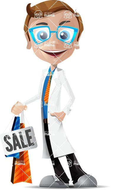 Mad Scientist Guy Cartoon Vector Character AKA Doctor Dorkster - Sale