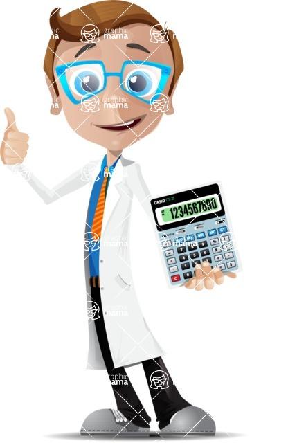 Mad Scientist Guy Cartoon Vector Character AKA Doctor Dorkster - Calculator