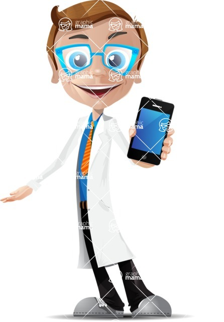 Mad Scientist Guy Cartoon Vector Character AKA Doctor Dorkster - iPhone