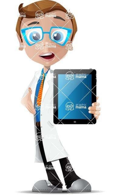 Mad Scientist Guy Cartoon Vector Character AKA Doctor Dorkster - iPad 1