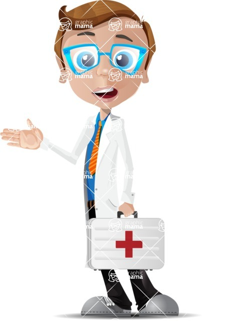 Mad Scientist Guy Cartoon Vector Character AKA Doctor Dorkster - Briefcase