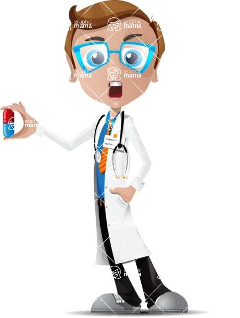 Mad Scientist Guy Cartoon Vector Character AKA Doctor Dorkster - Pills1