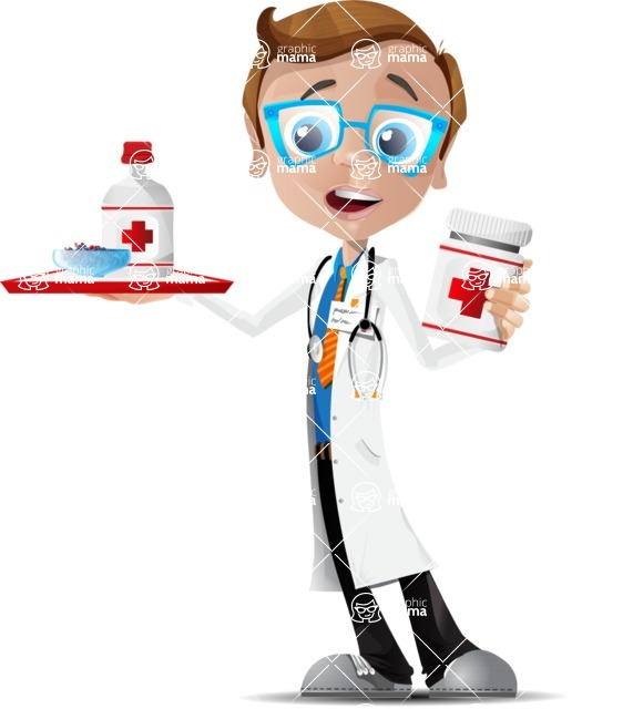 Mad Scientist Guy Cartoon Vector Character AKA Doctor Dorkster - Pills 2