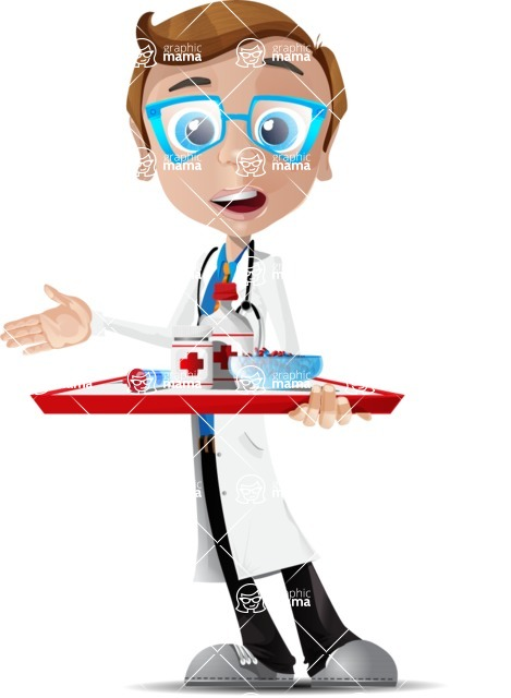 Mad Scientist Guy Cartoon Vector Character AKA Doctor Dorkster - Pills 3