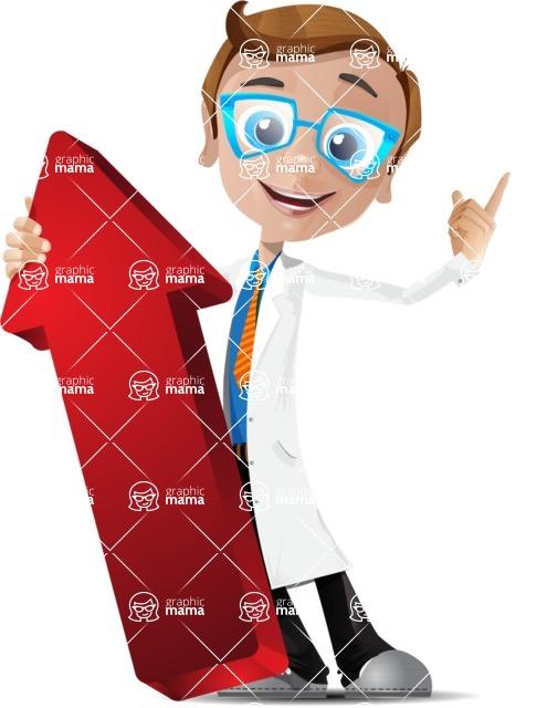 Mad Scientist Guy Cartoon Vector Character AKA Doctor Dorkster - Arrow 3