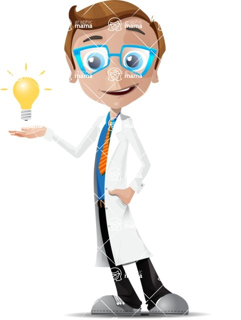 Mad Scientist Guy Cartoon Vector Character AKA Doctor Dorkster - Idea 1