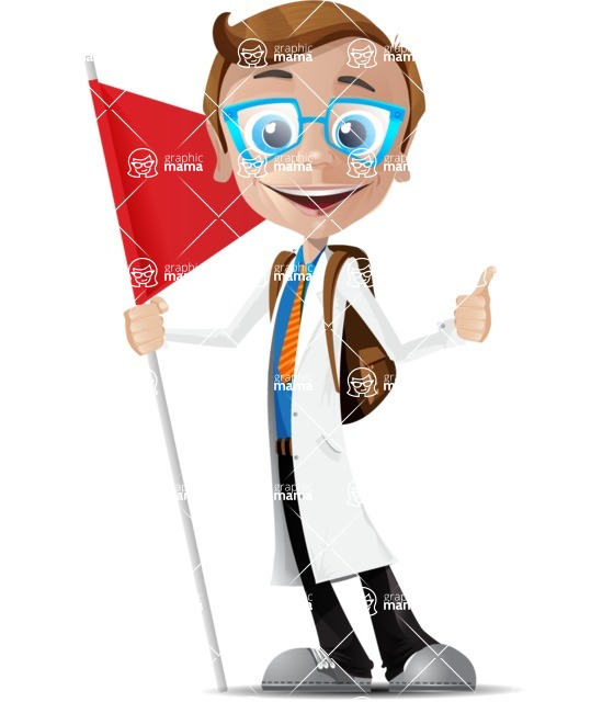 Mad Scientist Guy Cartoon Vector Character AKA Doctor Dorkster - Checkpoint