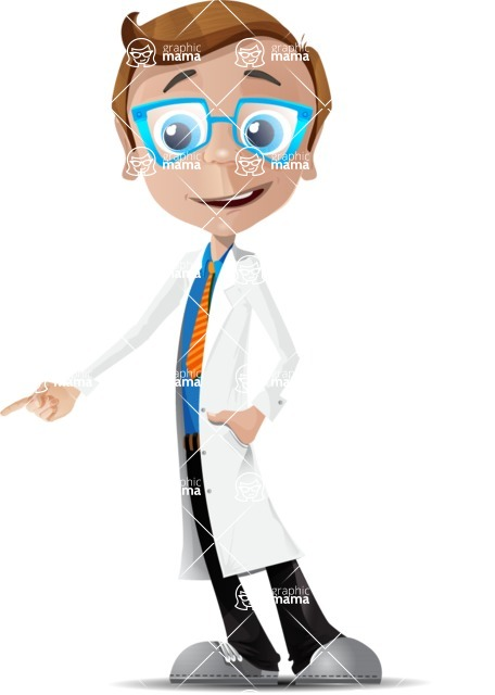 Mad Scientist Guy Cartoon Vector Character AKA Doctor Dorkster - Show