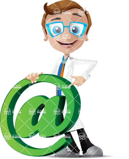 Mad Scientist Guy Cartoon Vector Character AKA Doctor Dorkster - Email
