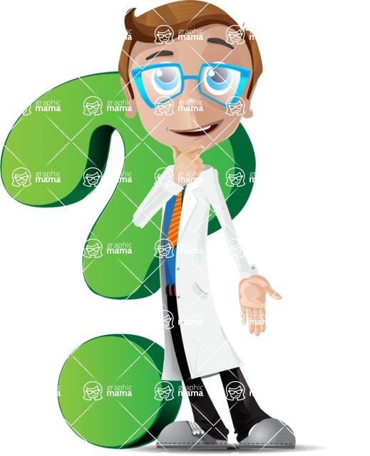 Mad Scientist Guy Cartoon Vector Character AKA Doctor Dorkster - Question