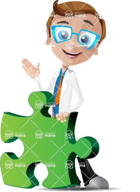 Mad Scientist Guy Cartoon Vector Character AKA Doctor Dorkster - Puzzle