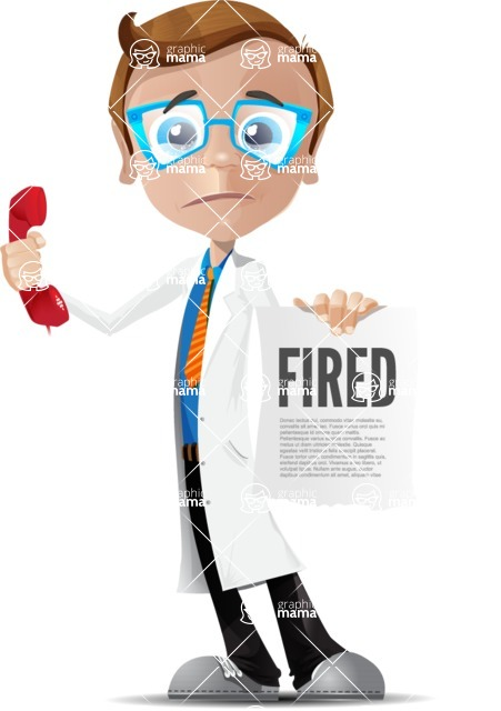 Mad Scientist Guy Cartoon Vector Character AKA Doctor Dorkster - Office Fever