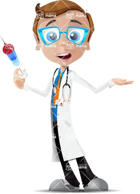 Mad Scientist Guy Cartoon Vector Character AKA Doctor Dorkster - Injection1