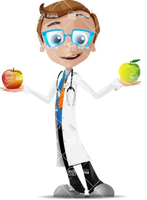 Mad Scientist Guy Cartoon Vector Character AKA Doctor Dorkster - Apple1