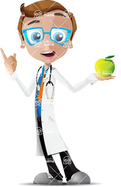 Mad Scientist Guy Cartoon Vector Character AKA Doctor Dorkster - Apple2