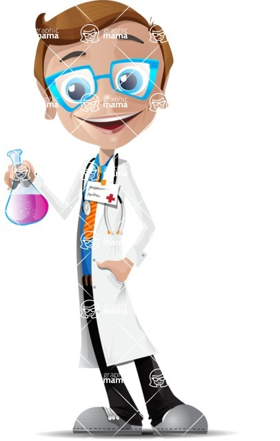 Mad Scientist Guy Cartoon Vector Character AKA Doctor Dorkster - Experiment1