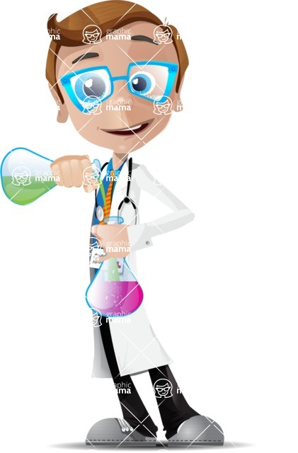 Mad Scientist Guy Cartoon Vector Character AKA Doctor Dorkster - Experiment 2