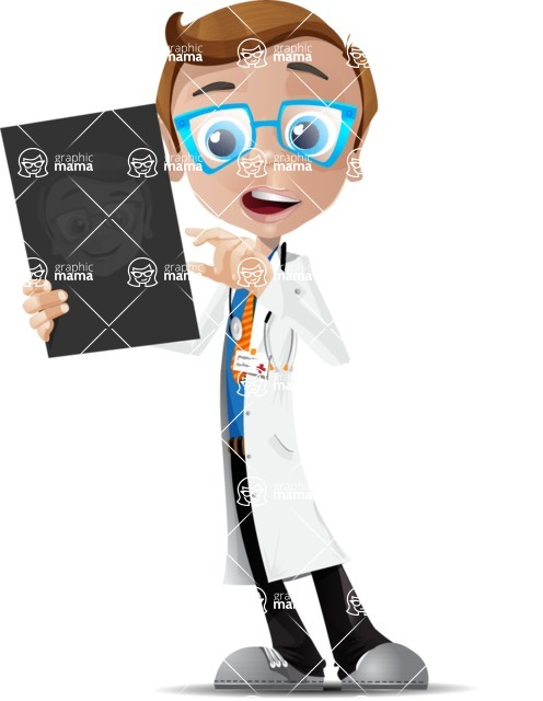 Mad Scientist Guy Cartoon Vector Character AKA Doctor Dorkster - Radiography 2