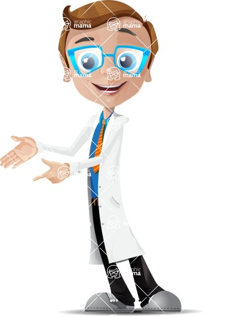 Mad Scientist Guy Cartoon Vector Character AKA Doctor Dorkster - Point