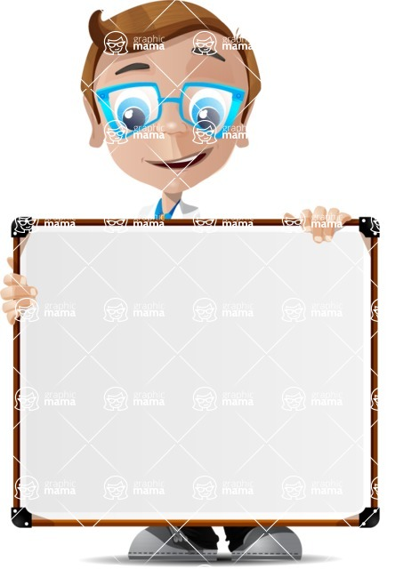 Mad Scientist Guy Cartoon Vector Character AKA Doctor Dorkster - Sign 1