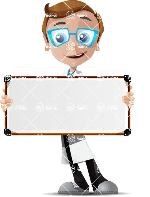 Mad Scientist Guy Cartoon Vector Character AKA Doctor Dorkster - Sign 2