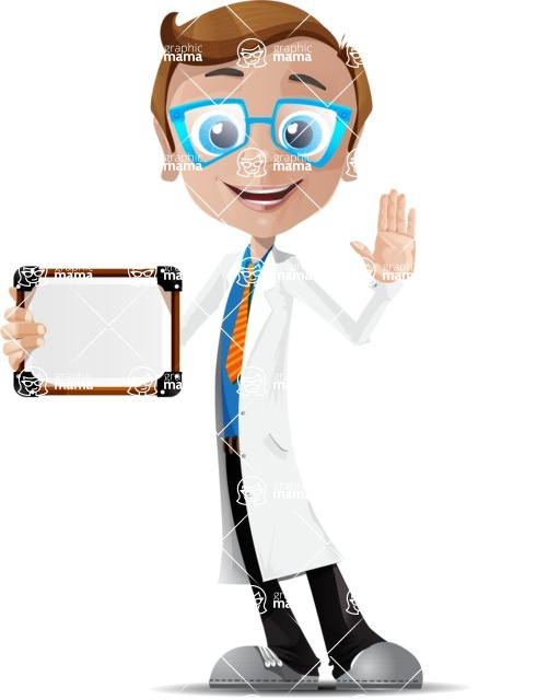 Mad Scientist Guy Cartoon Vector Character AKA Doctor Dorkster - Sign 4