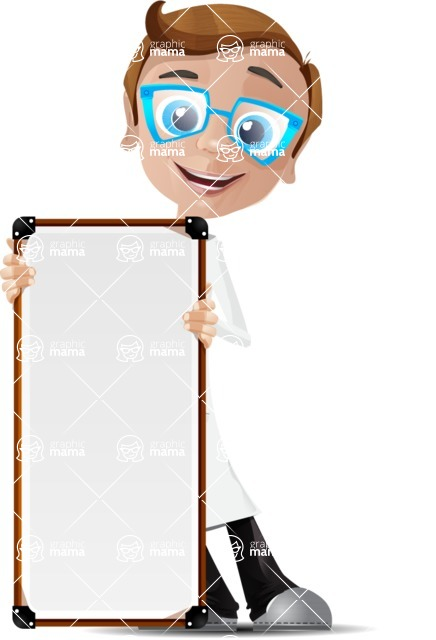 Mad Scientist Guy Cartoon Vector Character AKA Doctor Dorkster - Sign 5