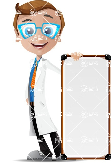 Mad Scientist Guy Cartoon Vector Character AKA Doctor Dorkster - Sign 6