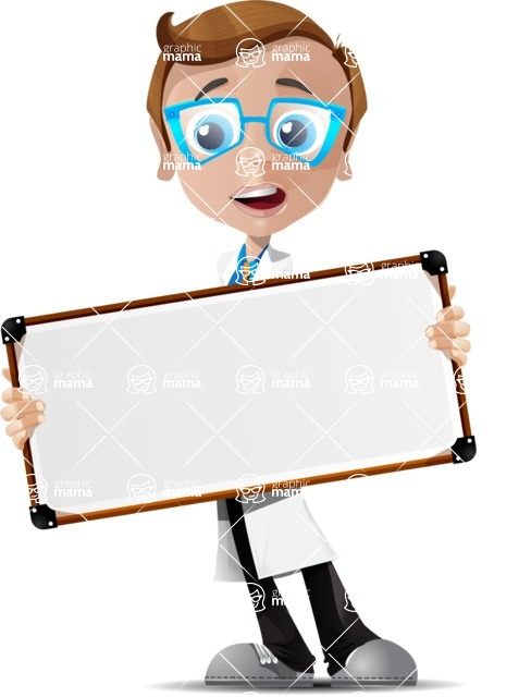 Mad Scientist Guy Cartoon Vector Character AKA Doctor Dorkster - Sign 7