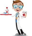 Mad Scientist Guy Cartoon Vector Character AKA Doctor Dorkster - Pills 2