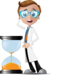 Mad Scientist Guy Cartoon Vector Character AKA Doctor Dorkster - No Time