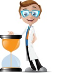 Mad Scientist Guy Cartoon Vector Character AKA Doctor Dorkster - Time is Yours