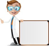 Mad Scientist Guy Cartoon Vector Character AKA Doctor Dorkster - Sign 8