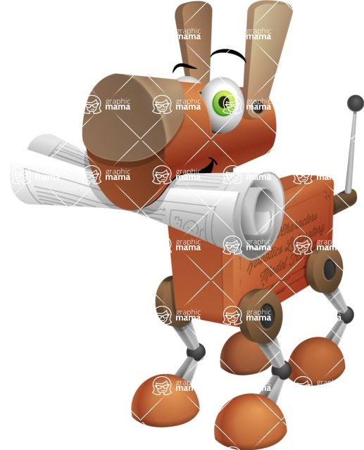 Old School Robot Dog Cartoon Vector Character AKA Robo Doug - Newspaper