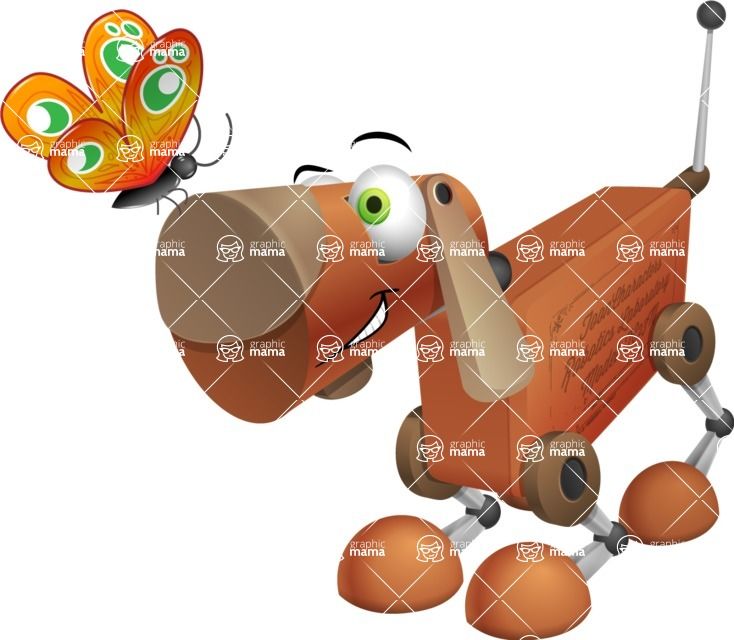 Old School Robot Dog Cartoon Vector Character AKA Robo Doug - Butterfly