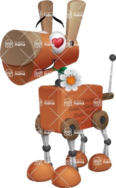 Old School Robot Dog Cartoon Vector Character AKA Robo Doug - Lover