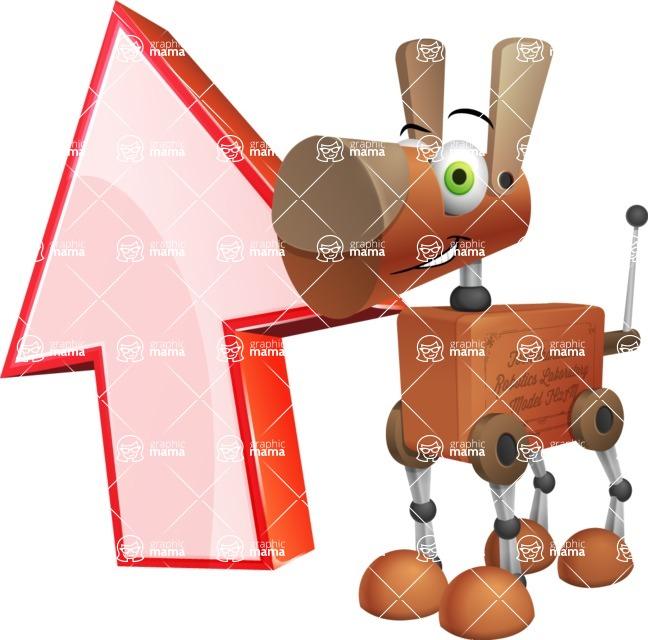 Old School Robot Dog Cartoon Vector Character AKA Robo Doug - Arrow