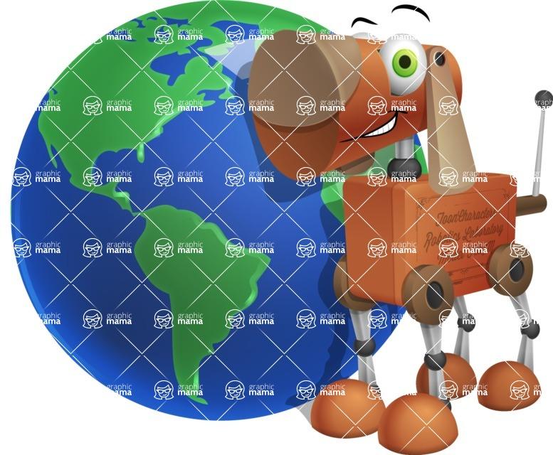 Old School Robot Dog Cartoon Vector Character AKA Robo Doug - Earth