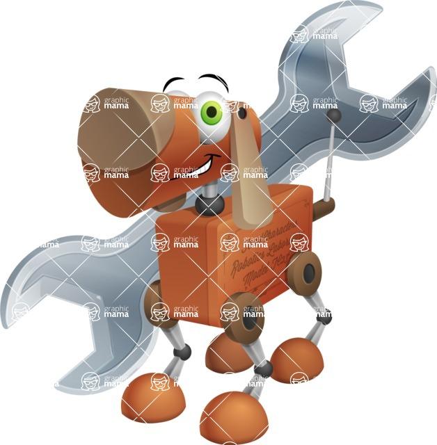 Old School Robot Dog Cartoon Vector Character AKA Robo Doug - Repair